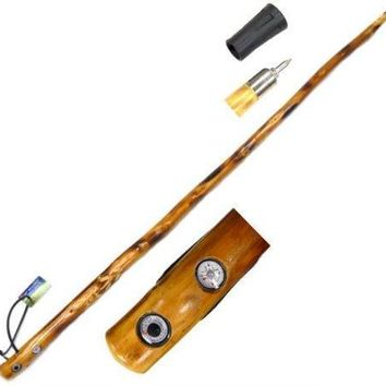 """Wood 55"""" Walking Stick w/ Compass & Thermometer"""