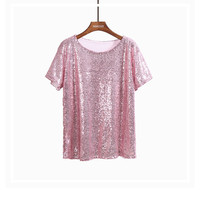 Buy Lemongrass Sequined Short-Sleeved Top | YesStyle