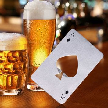 ICIK272 Hot  Sale 1pc Stainless Steel Poker Playing Card Ace of Spades Bar Tool Soda Beer Bottle Cap Opener Gift Home Decor Compact