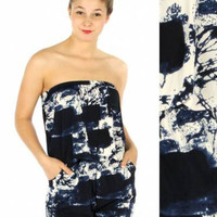 Strapless Black and White Tie Dye Romper One Size