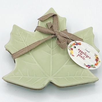 Set of 2 Green Leaf Appetizer Plate