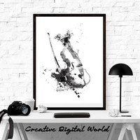Violin Music Musical  Watercolor Print Home Room Nursery Decor Wall Art Painting Gift Decoration Hanging Poster