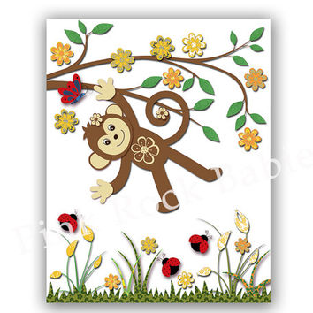 Safari poster neutral nursery wall art jungle artwork animal nursery wall decor monkey poster Kids room decor yellow brown children's art