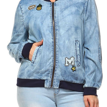 Denim Bomber Jacket with Patches - Curvaceous