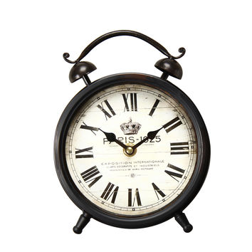 "Vintage-Inspired Brown Iron Table Top Alarm Clock ""Paris 1925"""