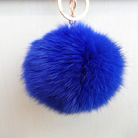 Fashion fur ball handmade keychain, Coney keychain,trend accessories,hot pink orange blue furball keychain,everyday jewelry /gift box