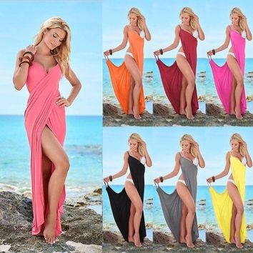LONMF Echoine Women Beach Cover Up Solid 10 Colors Goddess Spaghetti Strap Sarong Beachwear Sexy High Slit V Neck Backless Beach Dress