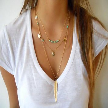 Boho Women's Simple  Multilayer Necklace - Gold Layered Necklace