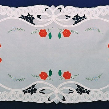 "Table Linens Lace Applique German Edelweiss Table Runner 18""x36"""