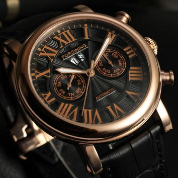 FORSINING unique vintage Men's Automatic japan movement Steel Genuine Leather Strap business watch mens watches top brand luxury