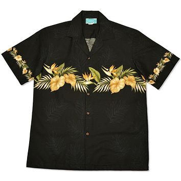 bird of paradise black hawaiian border shirt