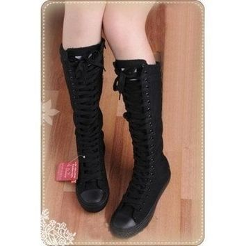 CREYUG3 Women shoes PUNK Black Canvas boot lace up sneakers knee high = 1946179396