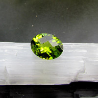 Peridot Oval Shape Checkerboard Cut for Engagement Ring or Fine Gemstone Jewelry August Birthstone