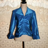 Midnight Blue Silk Blouse 3/4 Sleeve Cocktail Blouse Dressy Blouse French Cuffs Talbots Size 10 Size 12 Medium Large Womens Clothing