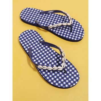 Shell Decorated Gingham Flip Flops