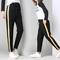Fashion Casual Rainbow Stripe Print Strappy Sweatpants Leisure Pants Trousers