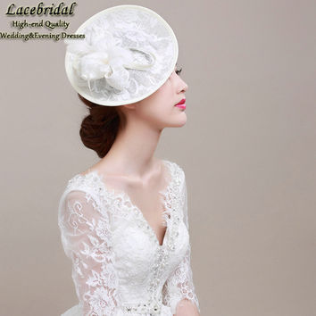 Lacebridal Ladies Vintage Linen Ivory Lace Feather Wedding Party Hats 2015 Bridal Netting Veils for Brides Wedding Accessory H4
