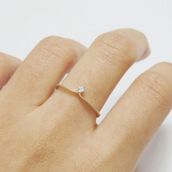 simple wedding cz ringsterling silverv ringtiara ringstack ring - Simple Wedding Rings For Her