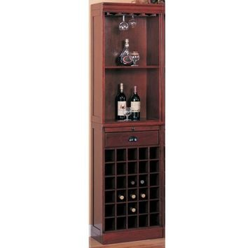 Traditional Style Spacious Wine Wall Bar Unit In Wood, Cherry Brown-Coaster