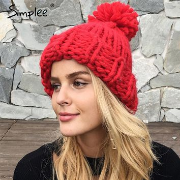 Simplee Knitting wool ball skullies beanies Casual streetwear warm hat cap Women autumn winter 2017 cute beanie hat female