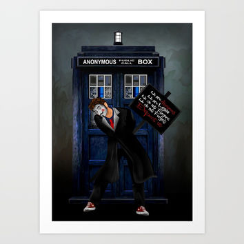 Anonymous Doctor who iPhone 4 4s 5 5c 6 7, pillow case, mugs and tshirt Art Print by Three Second