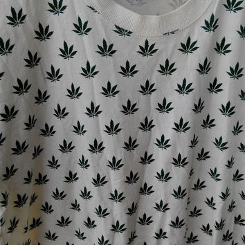 ON SALE 25% Vintage Weed Marijuana All Over Print Swag 90's fashion Bob Marley T Shirt