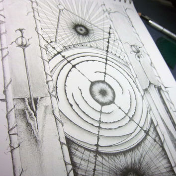 """Original art, pen and ink drawing, abstract and surreal artwork, black and white 11x14 drawing """"The Murder of Hypatia"""""""