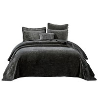 Tache Dark Brown Velvety Dreams Plush Waves Bedspread (JHW-852BR)