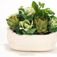 Mixed Kale, Artichokes and Basil In Oval White Stoneware