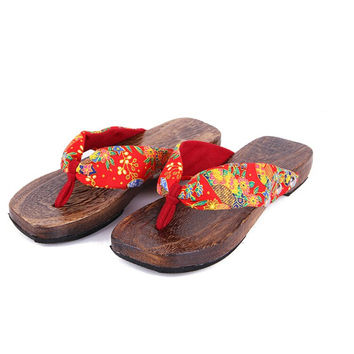 wood sandals 2016 New Fashion Retro Japanese style clogs fashion wooden flip flops slippers Women's clogs slippers h185