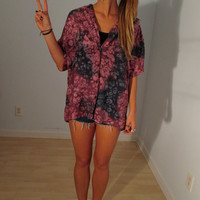 Psychedelic Silk Blouse XS S M L Boho Hippie Gypsy Purple Tie Dye Club Kid Acid Grunge Revival Art Mod Hipster Bohemian Festival Tunic Top