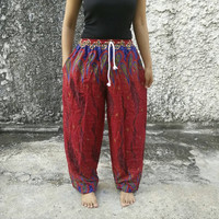 Paisley printed Yoga Exercise Pants Boho hobo Style Print Hippies Gypsy Plus Size Rayon Aladdin Clothing Beach Summer Harem Chic Baggy Red