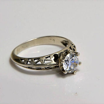 Sterling White Topaz Ring - Open Cut Sterling Silver Basket Mount - Brilliant White Topaz - Size 6.5