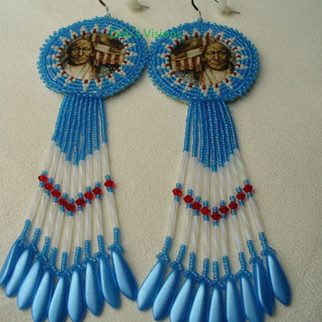 "Native American Style Rosette beaded ""Colors Bleed"" earrings in Denim Blue"