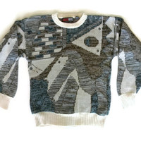 Vintage Cosby Sweater 80s Abstract Graphic Knit Sweater