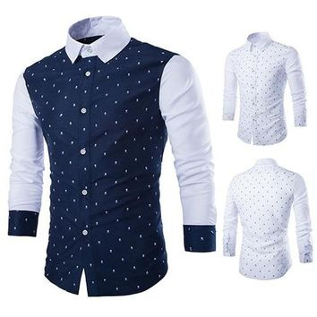 Men's Fashion Casual Skull Print Long Sleeves Slim Fit Button Dress Shirt