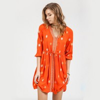 blu pepper - embroidered v neck dress with side belt - red orange