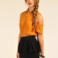 Carly Bead Top - Mustard at Necessary Clothing