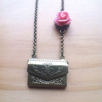 Beautiful Embossed Envelope Locket with Rose Necklace