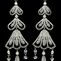 Ornamented Drop Earrings in Silver – bandbcouture.com