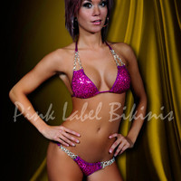 Violet Femme Sequin Competition Bikini Swimsuit w Chain Buckles for Contests & Pageants