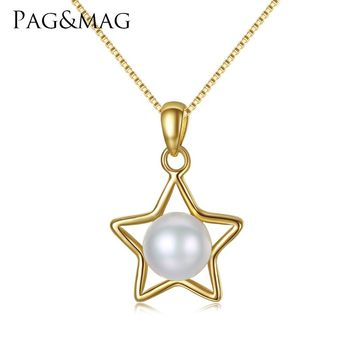 PAG&MAG Brand Five-pointed Star Sterling Silver Jewelry 7-7.5mm Natural Pearl Pendant Chain Necklace for Women