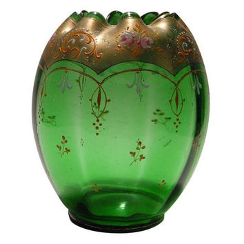 Green Glass Vintage Enameled Vase