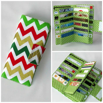 Card Organizer Wallet, Card Wallet, Credit Card Wallet, Gift Card Holder, women's wallet,  38 slots Loyalty Card Chevron Holiday Metallic