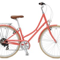 Critical Cycles Dutch Style Step-Thru City Bike Seven Speed Hybrid Urban Commuter Road Bicycle, 38cm, Coral