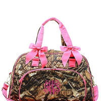 Personalized Natural Camo Quilted Duffle Tote Bag - Pink