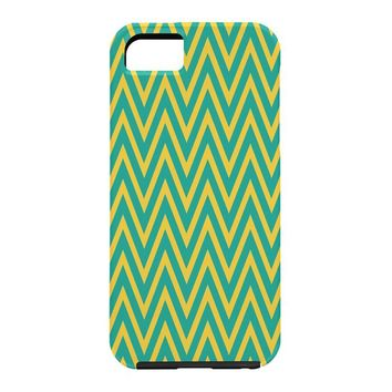 Allyson Johnson Teal Chartreuse Chevron Cell Phone Case