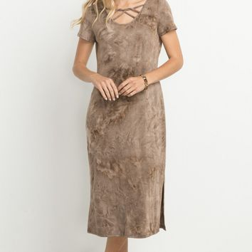 Mocha Tie Dye Strappy Midi Dress (final sale)