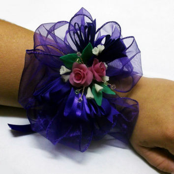 BOGO Sale Mother's day special-Porcelain Clay Prom Wrist Corsage Pink and Purple Rose