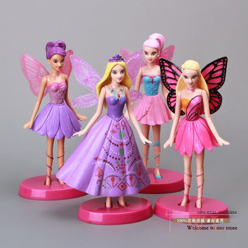 "6"" Flying Tinkerbell Fairy Adorable Tinker Bell PVC Action Figures Toys 4pcs/set Christmas Gifts Girls Toys TBFG006"